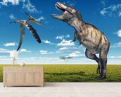 T-Rex and Pteranodon Battle wallpaper mural living room preview
