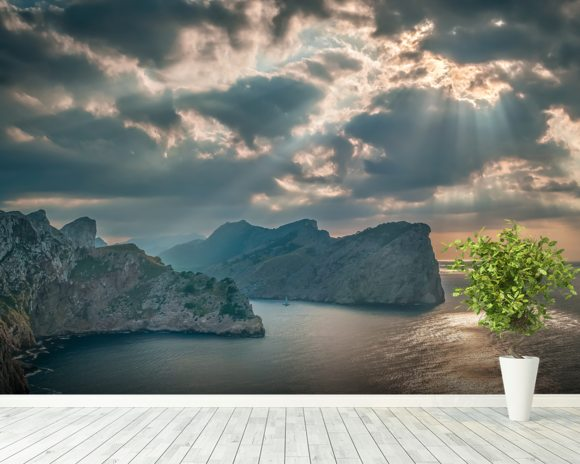 A Boat Sails Round the Majorca Coastline mural wallpaper room setting
