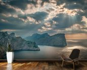 A Boat Sails Round the Majorca Coastline mural wallpaper kitchen preview