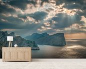 A Boat Sails Round the Majorca Coastline mural wallpaper living room preview