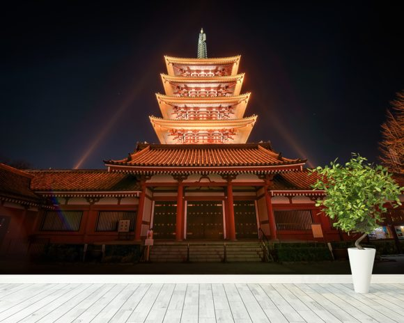 Asakusa Temple at Night, Tokyo wall mural room setting