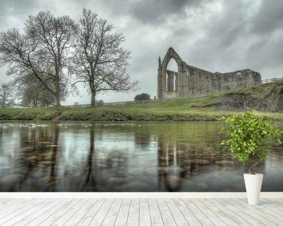 Bolton Abbey Reflections Good, Yorkshire mural wallpaper room setting