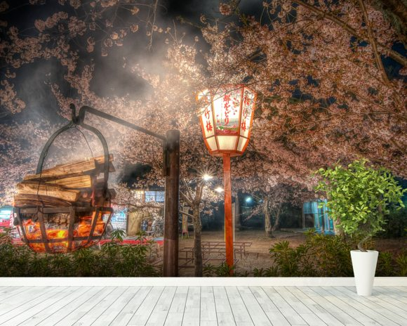 Burning Incense at the Kyoto Cherry Blossom Festival wallpaper mural room setting