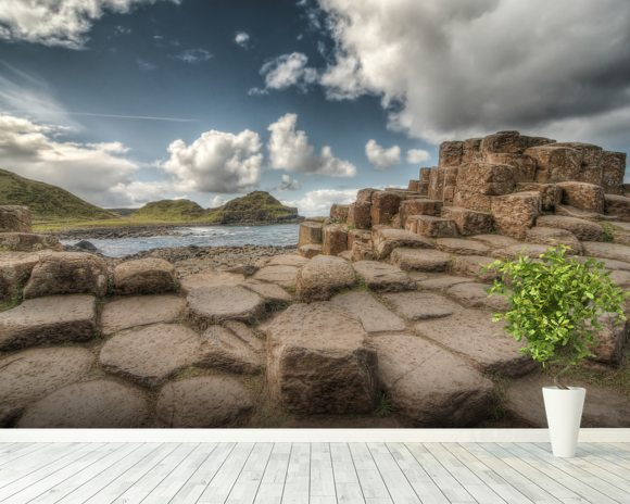 Cloudy Day on Giant's Causeway wallpaper mural room setting