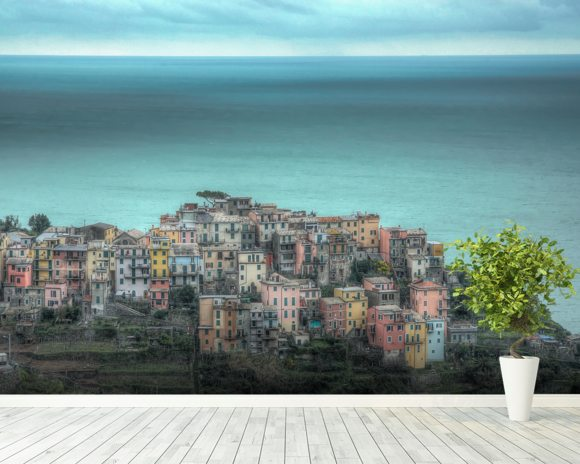 Corniglia on the Cliffs wall mural room setting