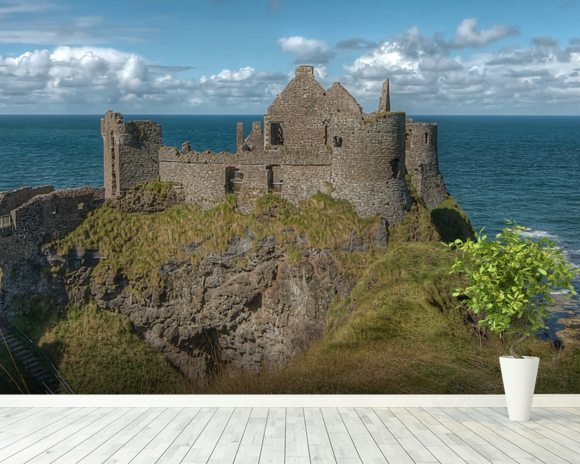 Dunluce Castle on the Coastal Causeway, County Antrim wallpaper mural room setting
