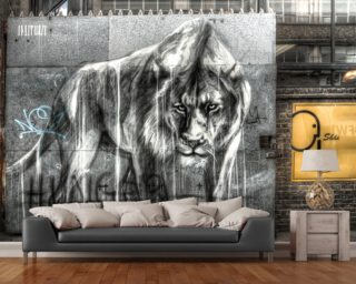 guarded by the lion mural wallpaper