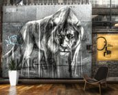 Guarded by the Lion wallpaper mural kitchen preview