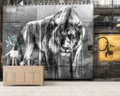 Guarded by the Lion wallpaper mural living room preview