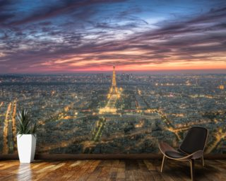 Purple Skies Over the Eiffel Tower wall mural