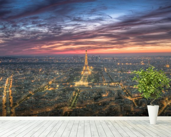 Purple Skies Over the Eiffel Tower wall mural room setting