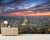 Purple Skies Over the Eiffel Tower wall mural living room preview