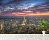 Purple Skies Over the Eiffel Tower wall mural in-room view