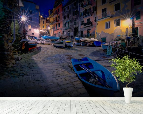 Riomaggiore Fishing Boats wall mural room setting