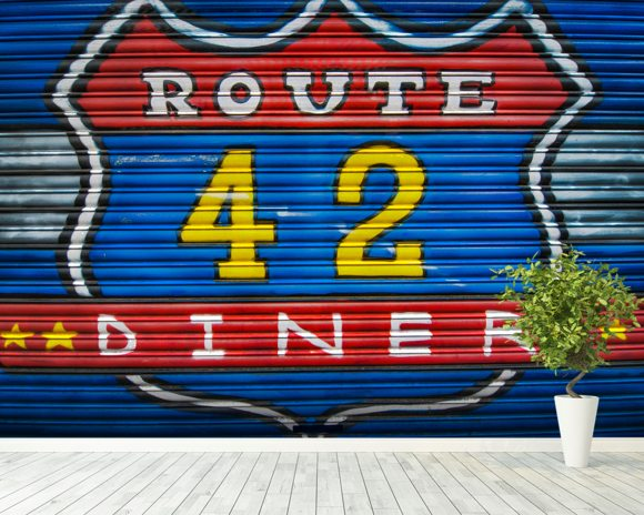 Route 42 wallpaper mural room setting