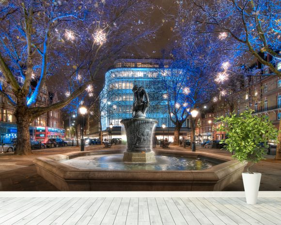Sloane Square at Christmas wall mural room setting