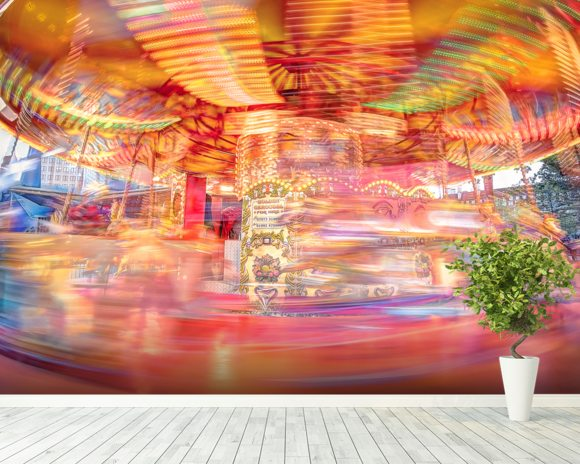 Speeding Southbank Carousel wallpaper mural room setting
