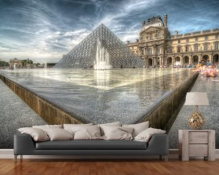 Sunbathing in the Louvre Water Pools mural wallpaper