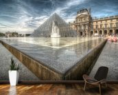 Sunbathing in the Louvre Water Pools mural wallpaper kitchen preview