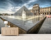 Sunbathing in the Louvre Water Pools mural wallpaper living room preview