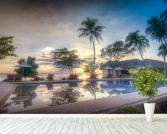 Sunset by the Pool wallpaper mural room setting