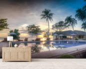 Sunset by the Pool wallpaper mural living room preview