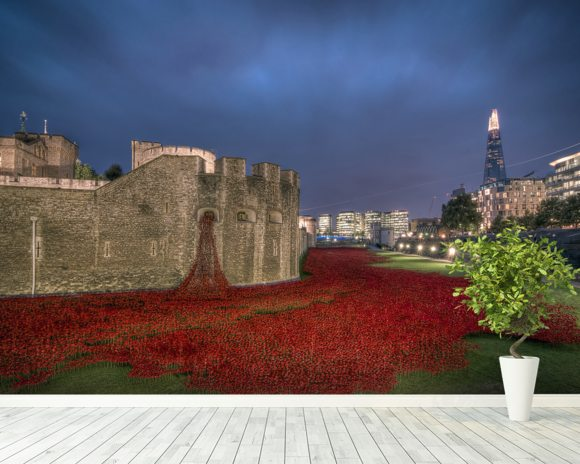 The Tower of London Poppies wallpaper mural room setting