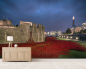 The Tower of London Poppies wallpaper mural living room preview