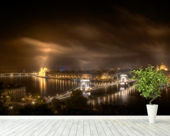 The View from Buda Castle wallpaper mural room setting