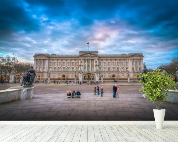 Tourists Outside Buckingham Palace Mural Wallpaper Room Setting