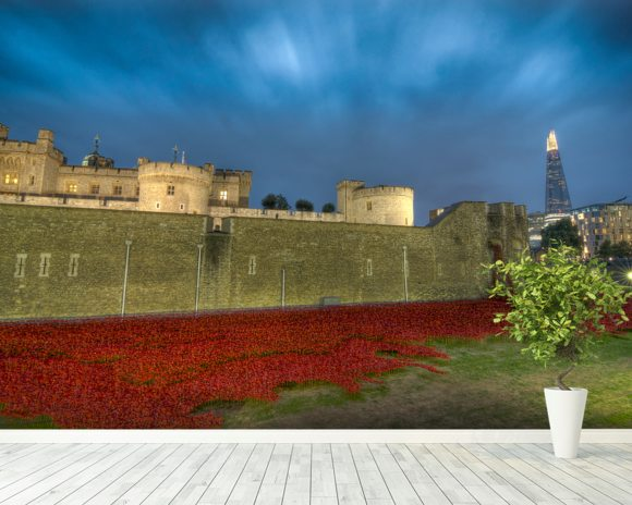 Tower of London Sea of Poppies wall mural room setting