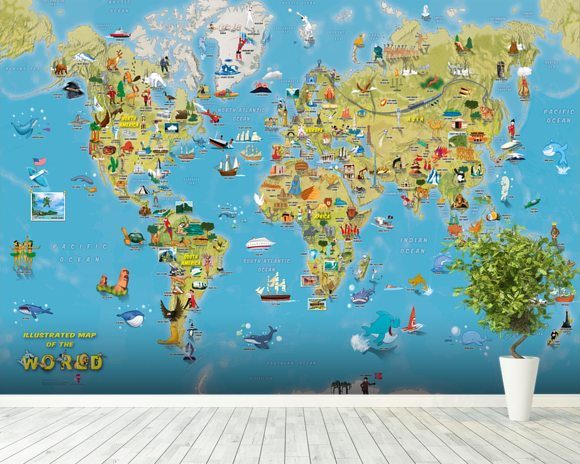 Cartoon world with animals wall mural cartoon world with animals cartoon world map with animals wallpaper mural room setting gumiabroncs Image collections