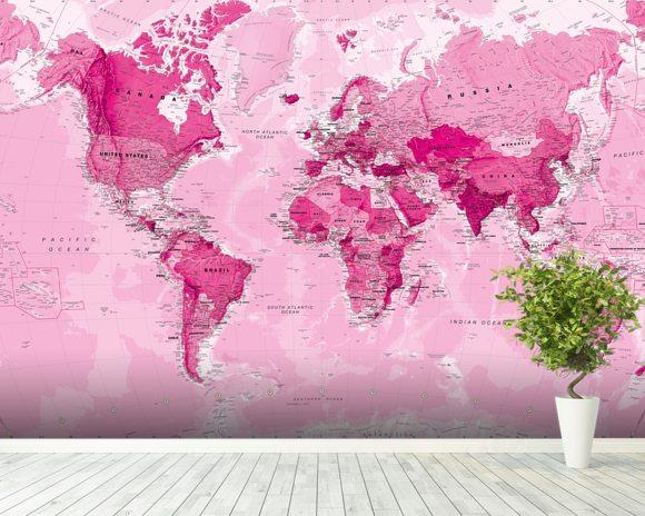 World map pink wall mural world map pink wallpaper wallsauce norway world map pink wall mural room setting gumiabroncs Choice Image