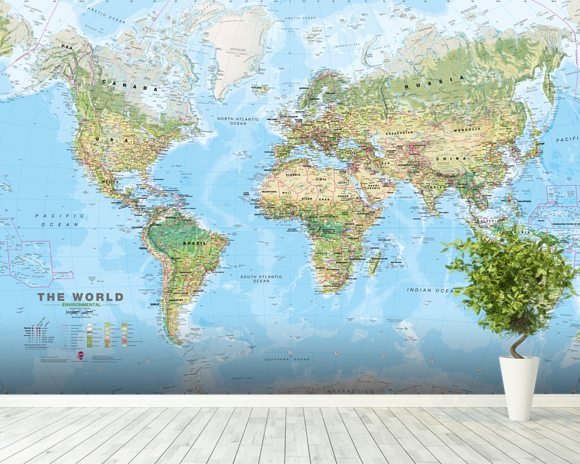 World Environmental Map Wall Mural & World Environmental