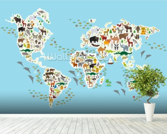 Cartoon animal world map wallpaper mural wallsauce usa cartoon animal world map mural wallpaper room setting gumiabroncs Image collections