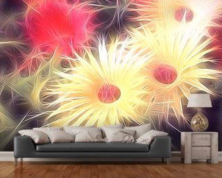 Light Daisy Gang Mural Wallpaper Wall Murals Wallpaper