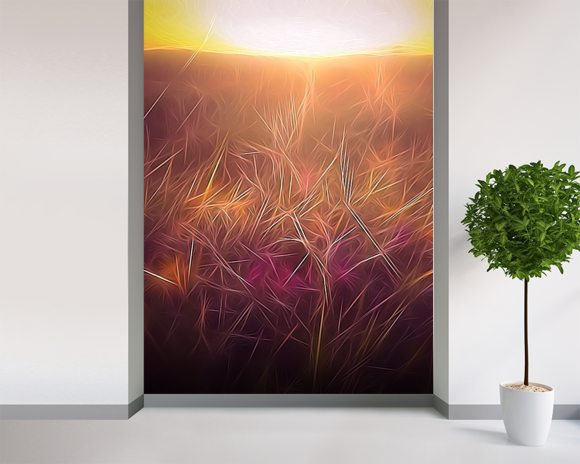 Light Dancing Grass wall mural room setting
