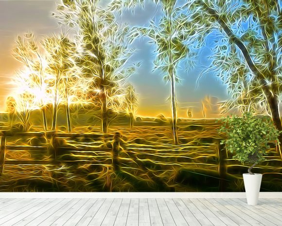 Light Dawn Break wallpaper mural room setting