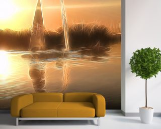 Light Float Boats Photo Wallpaper Wall Murals Wallpaper
