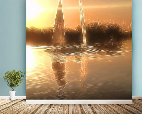 Light Float Boats wall mural room setting