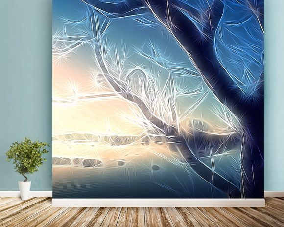 Light Frozen Morning wallpaper mural room setting