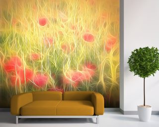 Light Poppy Party Mural Wallpaper Wall Murals Wallpaper