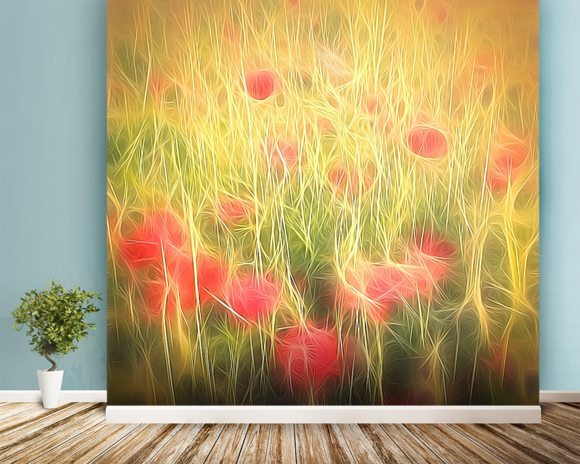 Light Poppy Party mural wallpaper room setting