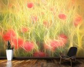 Light Poppy Party mural wallpaper kitchen preview
