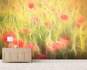 Light Poppy Party mural wallpaper living room preview
