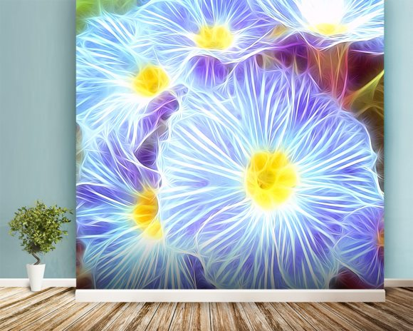 Light Sky Violets mural wallpaper room setting
