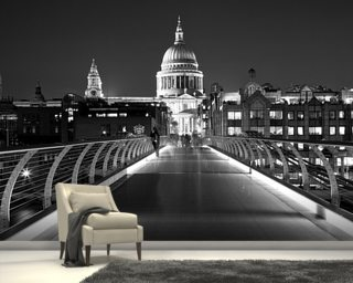 Millenium Bridge Black & White Wallpaper Wall Murals