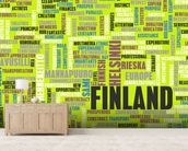 Finland World Cloud mural wallpaper living room preview