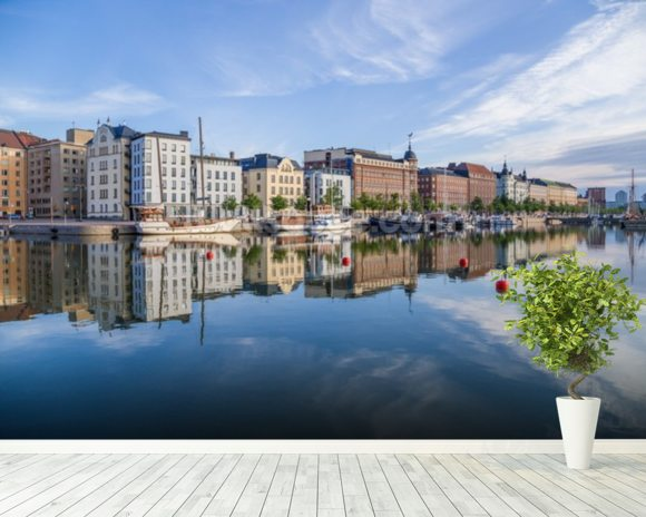 Helsinki Waterfront and Boats wallpaper mural room setting