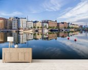 Helsinki Waterfront and Boats wallpaper mural living room preview